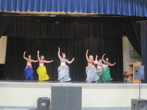 In 2012 The Misfit Gypsys taught belly dancing basics to the audience.