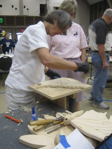 This has been a greassroots community project. PArticipants learn to carve, sand or paint carousel figures.
