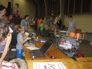 Students at Dobyns Bennett HS brought the robot they built and the public got in a little basketball practice.
